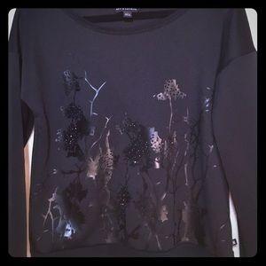 Rock & Republic Black Glossy Sweatshirt Size M